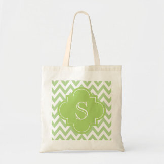 Green Chevron Moroccan Monogram Tote Bag