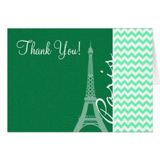 Green Chevron; Paris Note Card