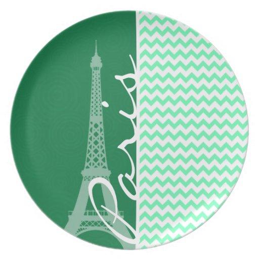 Green Chevron; Paris Party Plates