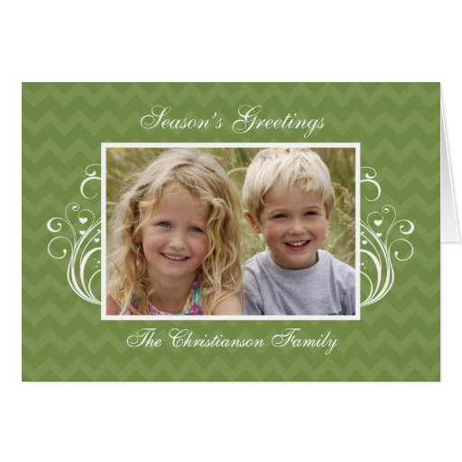 Green Chevron Photo Folded Christmas Card
