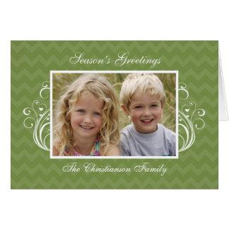 Green Chevron Photo Folded Christmas Greeting Card