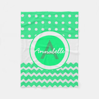 Green Chevron Polka Dot Fleece Blanket