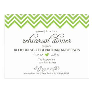 Green Chevron Rehearsal Dinner Invite Postcard