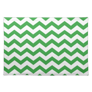 green chevron stripes placemat