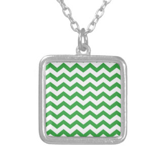 green chevron stripes silver plated necklace