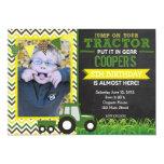 "Green Chevron Tractor Birthday Party Invitation 5"" X 7"" Invitation Card"