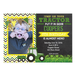 Green Chevron Tractor Birthday Party Invitation