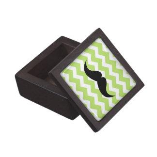 Green chevron zigzag pattern trinket mustache premium gift box