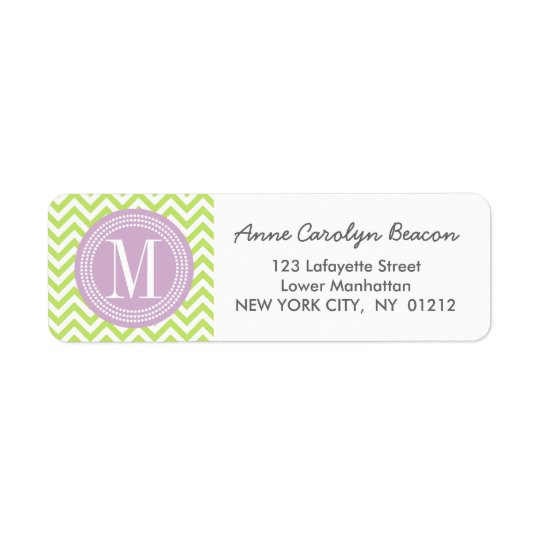 Green Chevron Zigzag Personalized Monogram Return Address Label