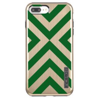 Green Chevrons on Faux Brushed Gold Incipio DualPro Shine iPhone 8 Plus/7 Plus Case