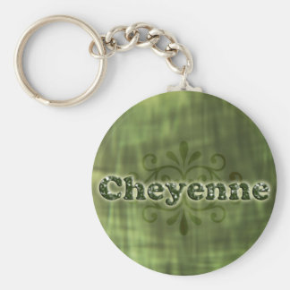 Green Cheyenne Basic Round Button Keychain