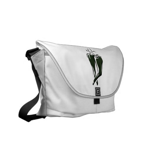 Green chili pepper two dancing abstract commuter bags