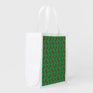 Green chili peppers pattern grocery bag