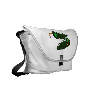Green chilis two peppers loose messenger bags