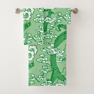 Green Chinese Dragon Pattern Bath Towel Set