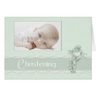 Green Christening Photo Invitation