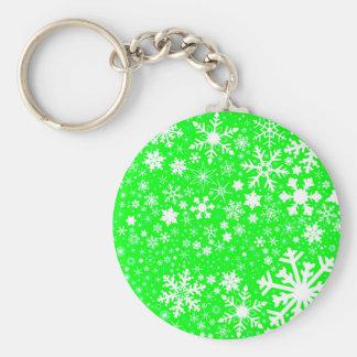 Green Christmas Blast Basic Round Button Keychain