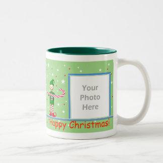 Green Christmas Candy Cane Elf 2-Photo Frame Two-Tone Mug
