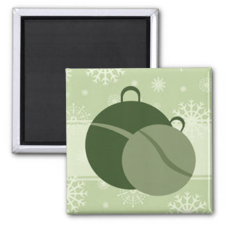 Green Christmas Decorations and Snowflakes Magnet