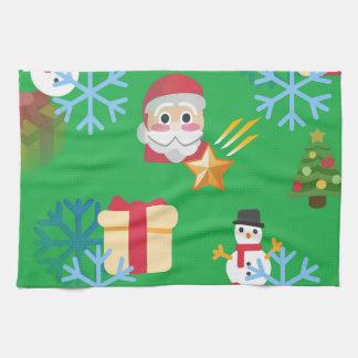 green christmas emoji kitchen towel