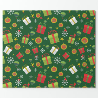 Green Christmas Glossy Wrapping Paper