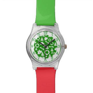 Green Christmas Holiday Pattern Wrist Watch