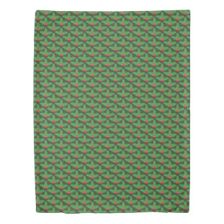 Green Christmas holly leaf pattern duvet cover