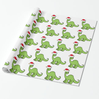 Green Christmas Kids Dinosaur Santa Wrapping Paper