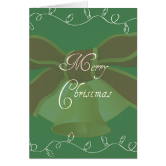 Green Christmas Lights and Bell Card