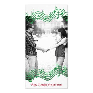 Green Christmas Music Photo Holiday Photo Card