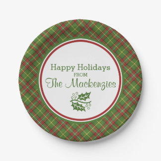 Green Christmas Plaid Pattern Personalized Paper Plate