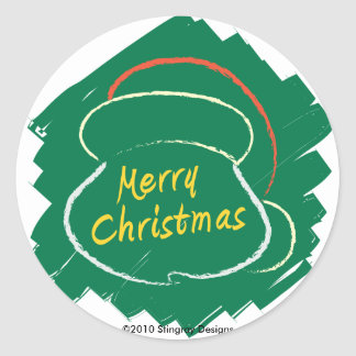 Green Christmas Round Sticker