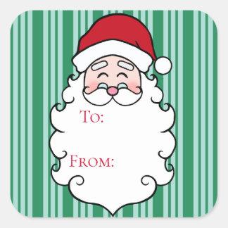 Green Christmas Santa Claus Gift Tag Stickers