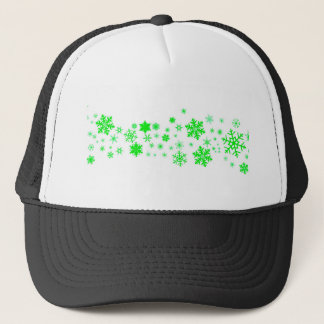 Green Christmas Snowflake Banner Trucker Hat