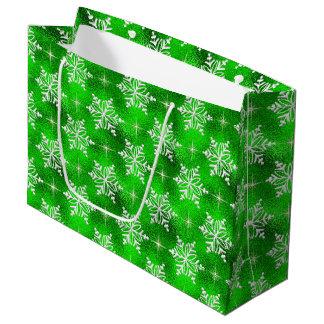 Green Christmas snowflake large gift bag