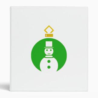 Green Christmas Snowman Ornament Binder