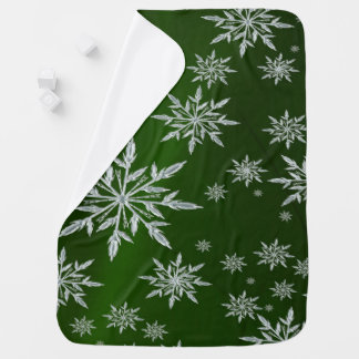 Green Christmas stars with white ice crystal Baby Blanket