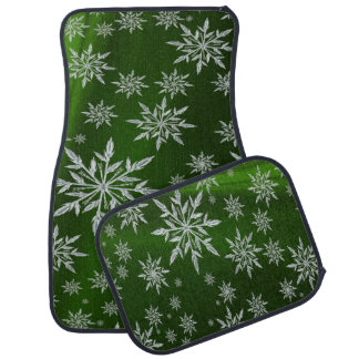 Green Christmas stars with white ice crystal Car Mat