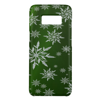 Green Christmas stars with white ice crystal Case-Mate Samsung Galaxy S8 Case