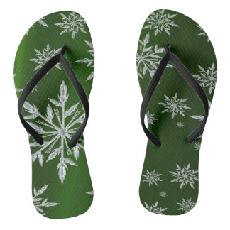 Green Christmas stars with white ice crystal Flip Flops