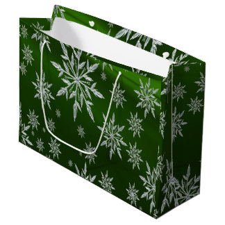 Green Christmas stars with white ice crystal Large Gift Bag