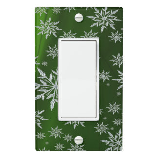 Green Christmas stars with white ice crystal Light Switch Cover