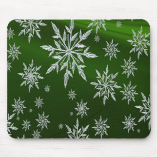 Green Christmas stars with white ice crystal Mouse Pad