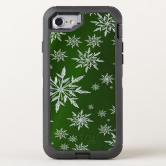 Green Christmas stars with white ice crystal OtterBox Defender iPhone 8/7 Case