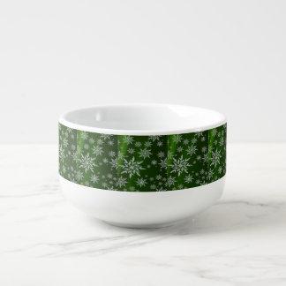 Green Christmas stars with white ice crystal Soup Mug