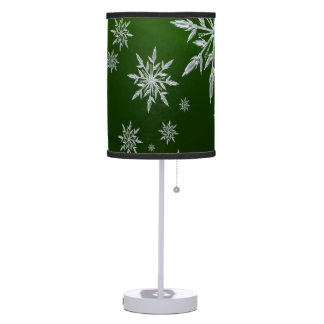 Green Christmas stars with white ice crystal Table Lamp