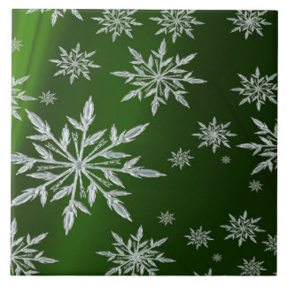 Green Christmas stars with white ice crystal Tile