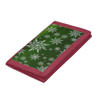 Green Christmas stars with white ice crystal Tri-fold Wallets