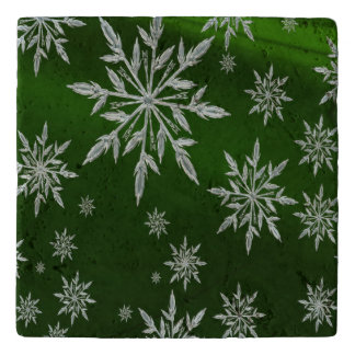 Green Christmas stars with white ice crystal Trivet
