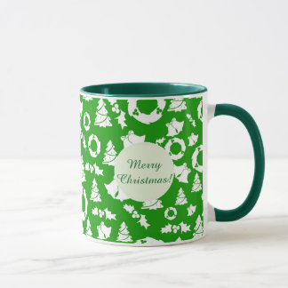 Green christmas tree and bells mug